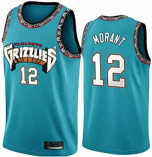 Can Be Washed Repeatedly Real Jerseys Suitable for Morant 12 Number Basketball Jersey Mens and Womens Basketball Jerseys Basketball Game Training Clothes