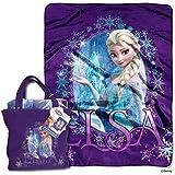 N2 40 x 50inch Kids Blue Purple Disney Frozen Queen Elsa Throw Blanket + Tote Bag, Cute Bedding Girls Movie Character Warm Soft, Polyester Cotton