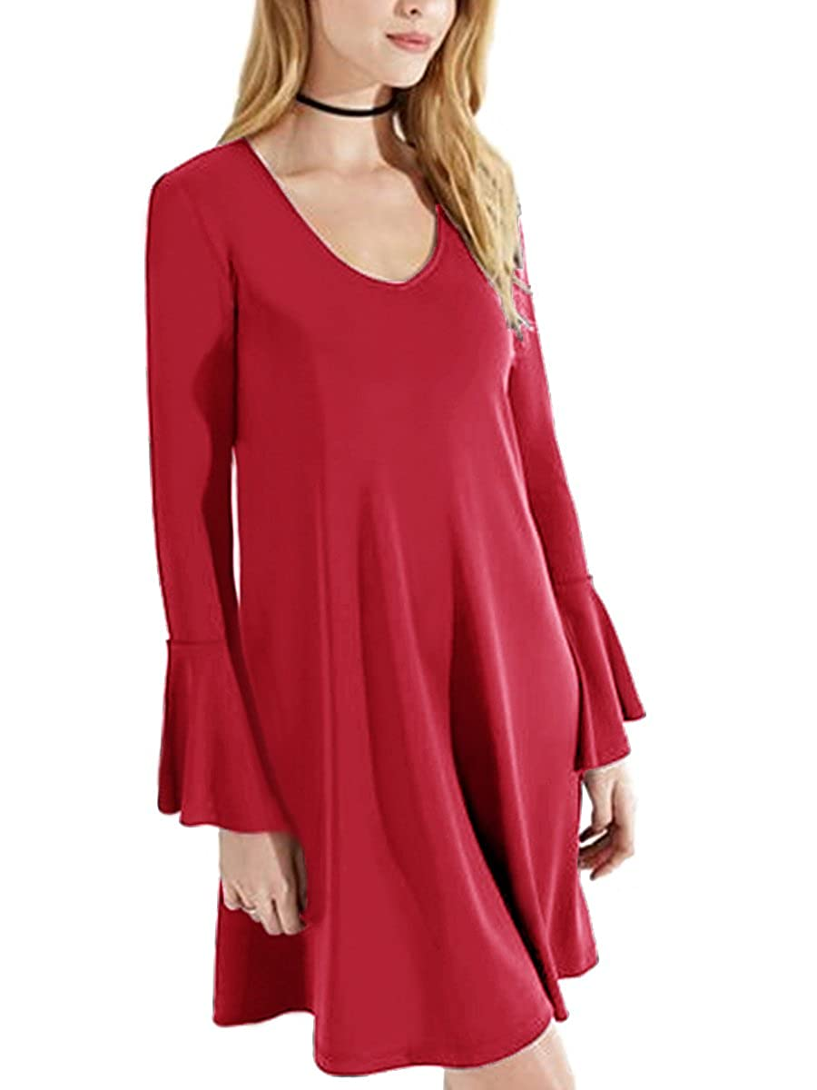 MiYang Flare Sleeve Blouse Casual Dress Women Loose T-Shirt Swing Dress