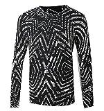 XQS Mens Hip Hop Long Sleeve Geometric Knit Pullover Sweater Black XS