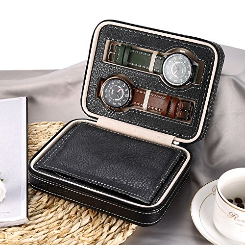 EleLight 4 Grids Watch Storage Display Box, Portable Travel Leather Watch Collector Storage Case for Men & Women as A Gift (Black) by EleLight (Image #4)