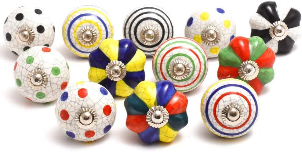 Schubladengriffe 20, Multicolor Naqsh Handbemalte Keramikkn/öpfe Schrankgriffe