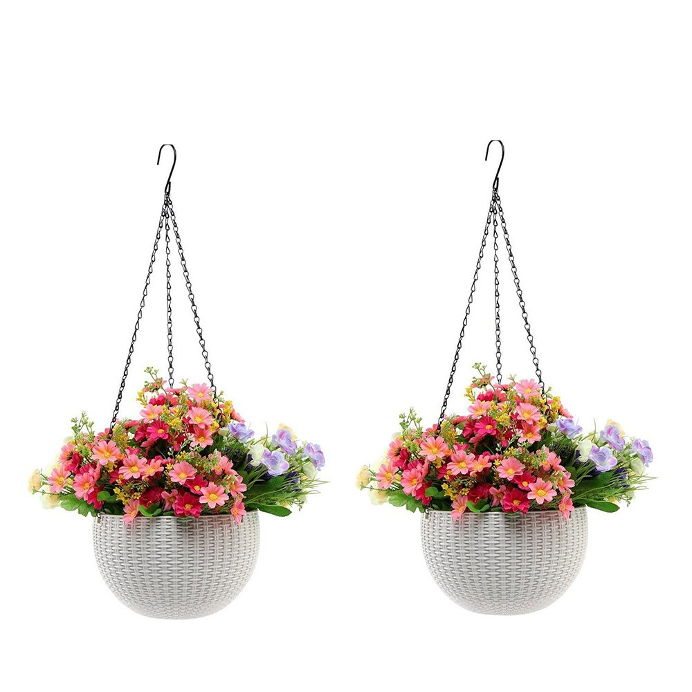 V-Best Hanging Planter Baskets, Hanging Plant Pot with Drainage Self Watering Indoor Outdoor Round Flower Pot Garden Balcony Patio Home Decoration, Set of 2 (White)