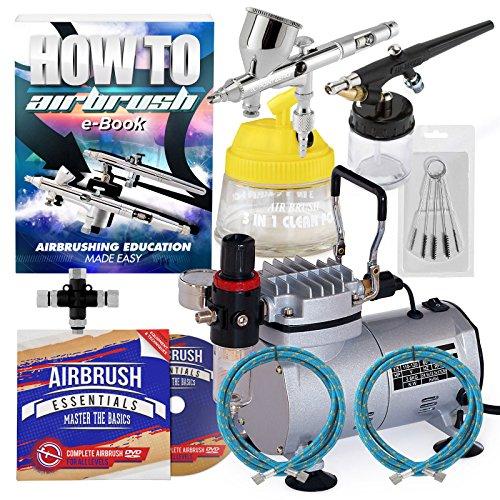 - PointZero Pro Multi-purpose Two Airbrush Set - Piston Compressor Kit