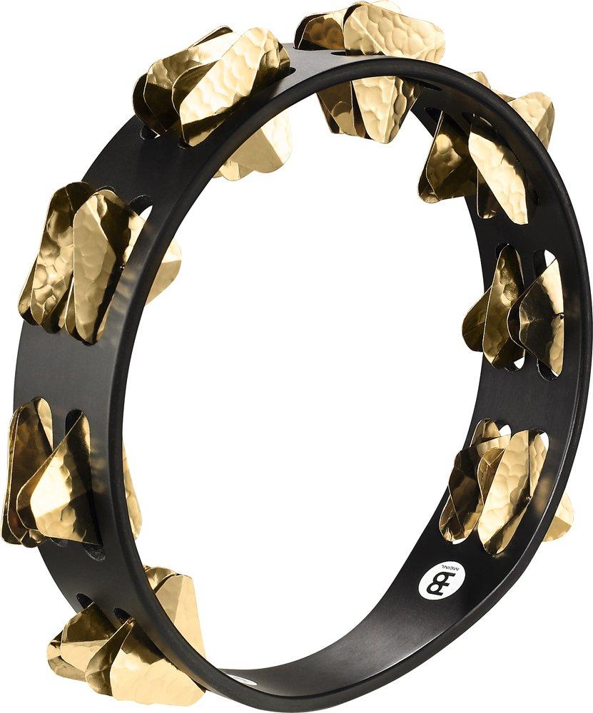 Meinl Percussion STA2B-BK 10-Inch Super Dry Studio Tambourine, 2 Rows Hammered Triangular Brass Jingles