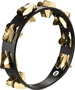 Meinl STA2B-BK Super-Dry Studio Wood Tambourine with 2 Rows of Brass Jingles - Black