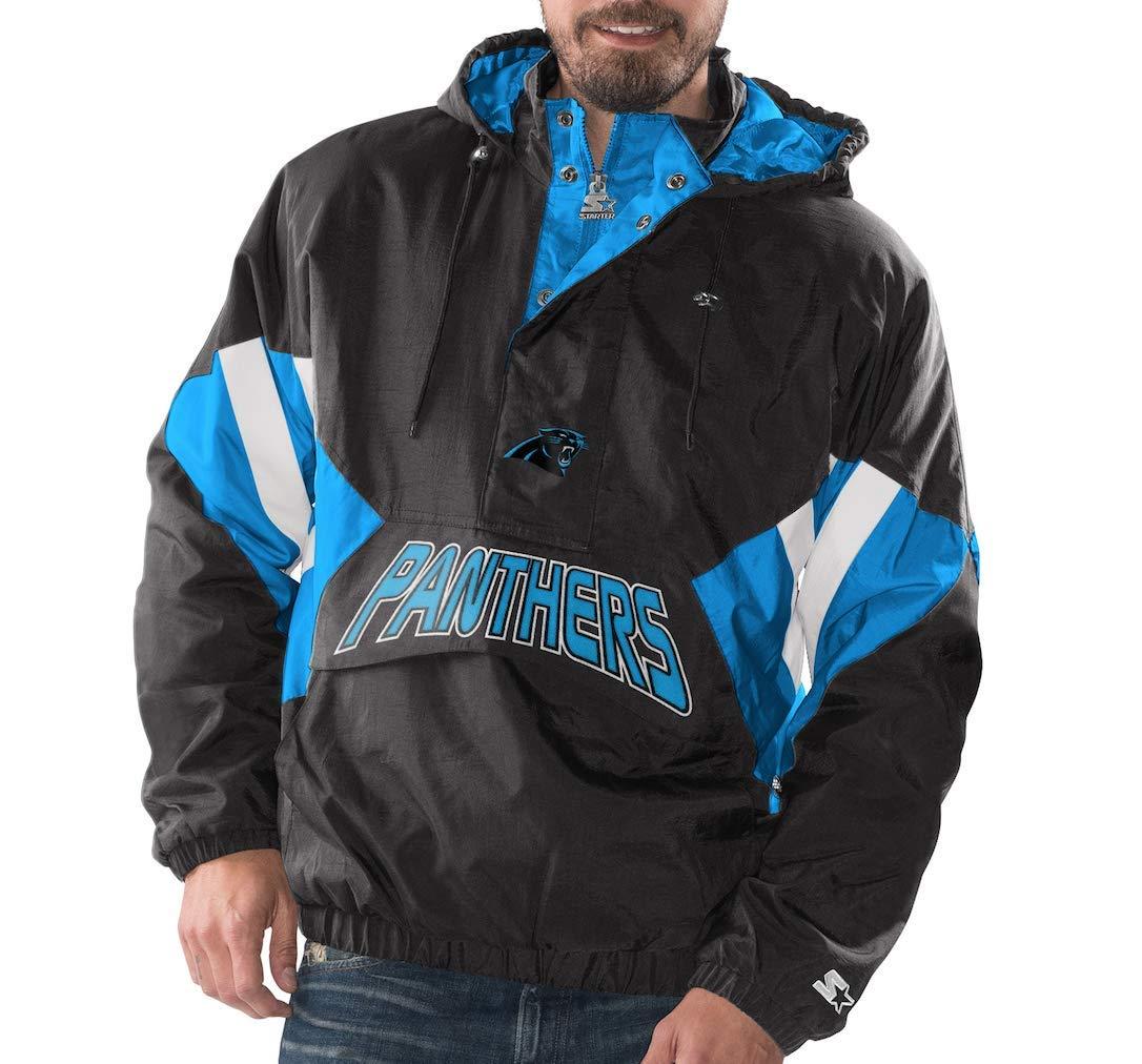 Amazon.com  Carolina Panthers Starter Vintage Enforcer Hooded Half-Zip  Pullover Jacket  Sports   Outdoors b33e728e5