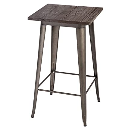Attirant Vintage Rectangular Counter Rustic Gunmetal Metal Coffee Bar Table With Wood  Top