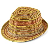 Trilby Fedora Hats for Kids - Summer, Beach & Party Hat for Boys & Girls - Short Brim Childrens Sun Hat - Colorful with Braided Hemp Band