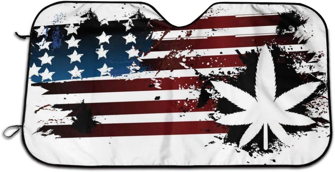 RomaniaGH Parasol para Ventana Delantera de Coche con diseño de Bandera Estadounidense y Marihuana, Ajuste Universal, protección contra Rayos UV, Sol y Calor (27.5 x 51 Pulgadas)