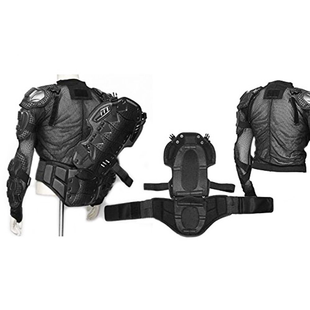 LEAGUE/&CO Motorcycle Full Body Armor Protector Pro Street Motocross ATV Guard Shirt Jacket with Back Protection Black Medium