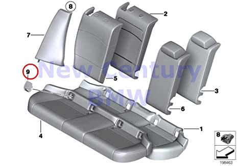 BMW Genuine Seat Rear Uphlstry//Cover Load-Through Cover Isofix BLACK E92