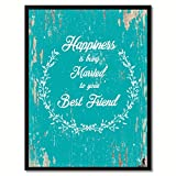 """Happiness is being married to your best friend Inspirational Quote Saying Aqua Canvas Print with Picture Frame Home Decor Wall Art Gifts 7"""" x 9"""""""