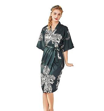 Camisón Mujeres Seda Kimono Pijamas de Verano Camison Mujer ...