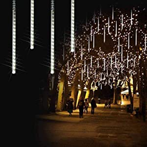 Bynhieo Meteor Shower Lights, Led Icicle Lights,Falling Raindrop Christmas Lights in Outdoor,Waterproof Cascading Lights for Holiday Christmas Party Wedding Decoration (Cool White)