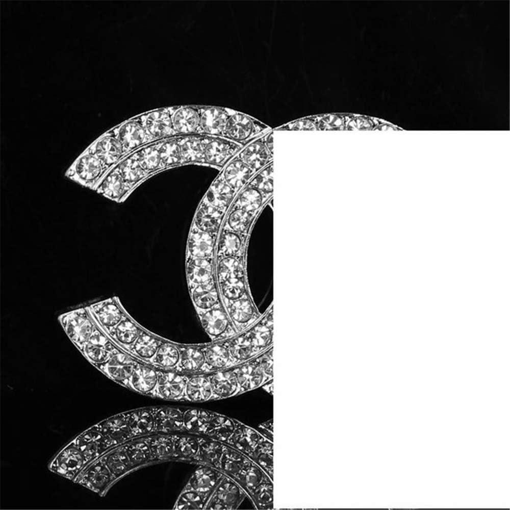 Perni e spilla vintage cristallo strass cc spillo spilla spille canale spille spilla spilla per le donne Imitazione rodio rivestito