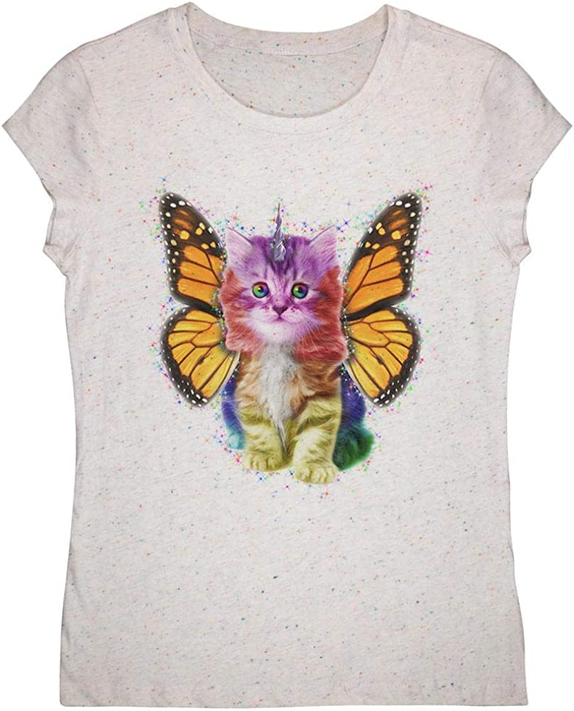 Rainbow Butterfly Unicorn Kitten Youth Girls T Shirt