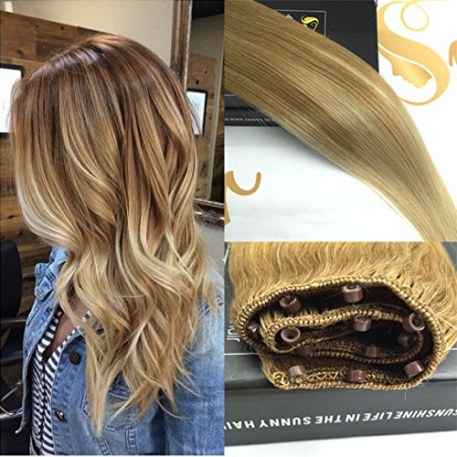 Sunny Balayage Remy Ombre Easy Weft Hair Extensions 16