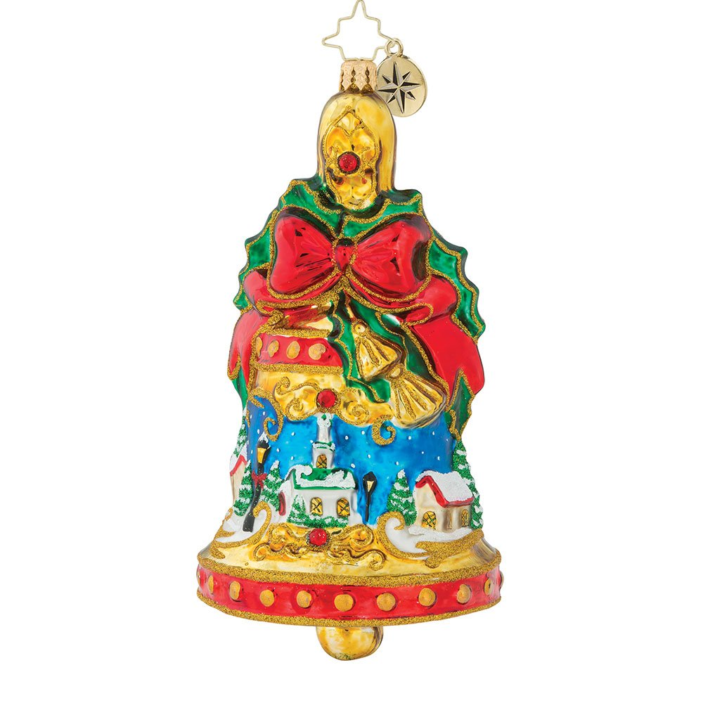 Christopher Radko Holly Town Bell Christmas Ornament