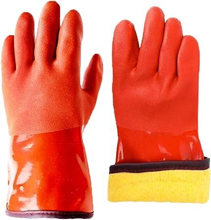 Orange 5 PAIRS No Slip Grip Nylon PVC Coated Fishing Protective Gloves Large