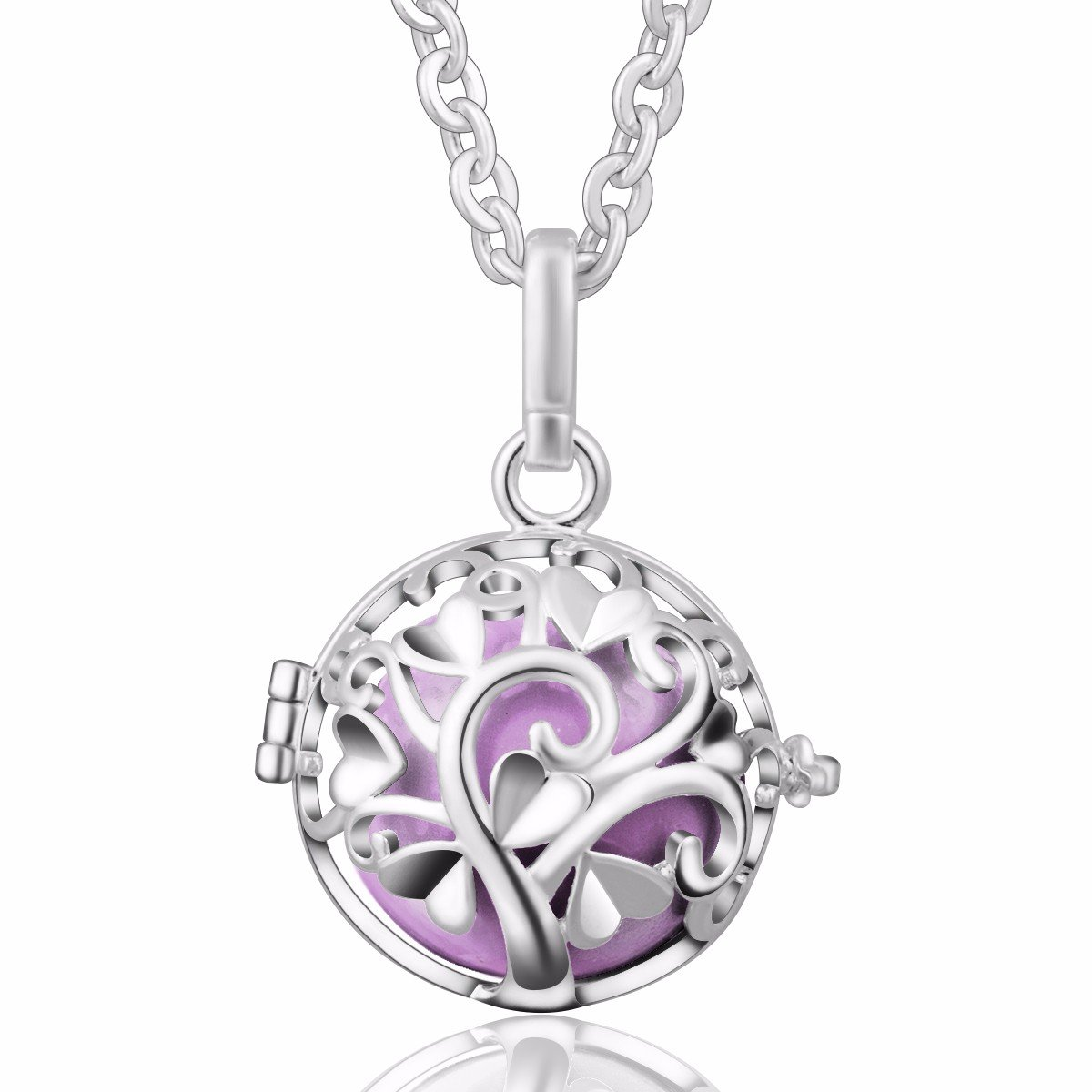 Eudora Harmony Bola Love Tree 20mm Pendant Musical Chime Perfume Necklace 30 Inches Chain,Silver Plated H217A11-NL34-30