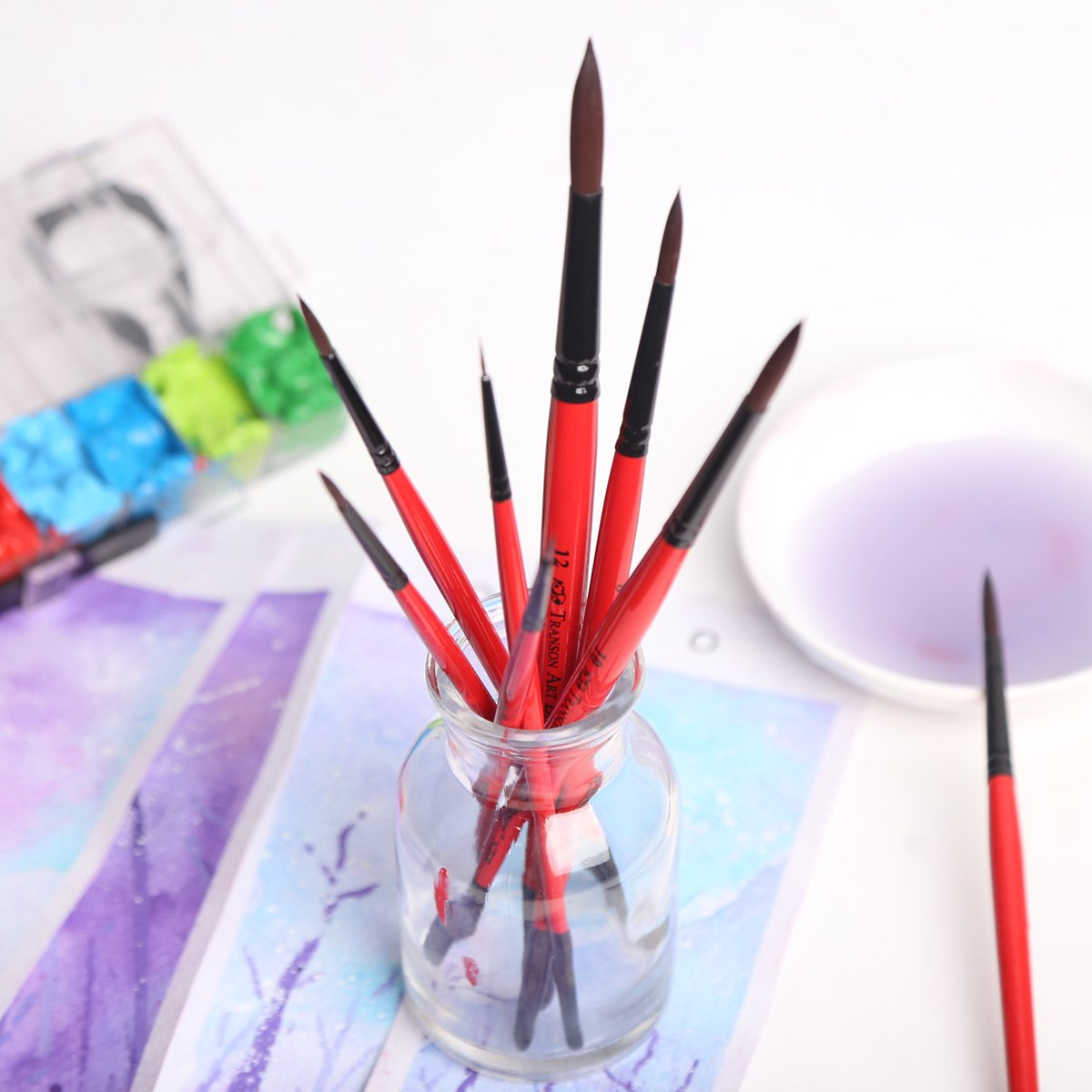 Oil Tempera Transon Round Artist Paint Brush Detail Set 9pcs for Acrylic Enamel and Face Painting Gouache