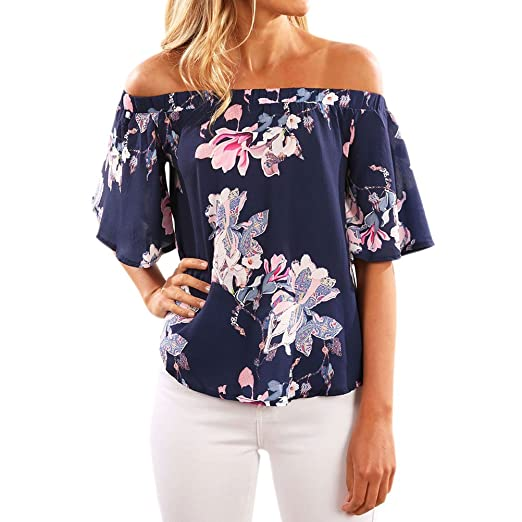 586900ed1a WLLW Women Short Sleeve Off Shoulder Floral Print Shirt Blouse Tops Tee at  Amazon Women s Clothing store