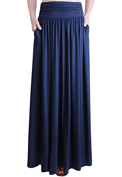 New Ladies Flared Jersey Fold Over Turn Up Waist Long Maxi Skirt Dress Free P/&P