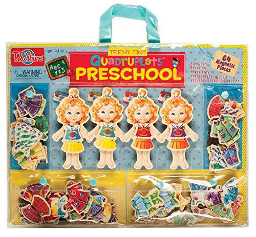 T.S. Shure Teeny Tiny Quadruplets Preschool Wooden Magnetic Dress-Up Dolls