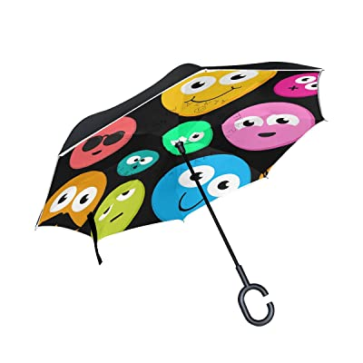 ALAZA Colorful Funny Emoji Inverted Umbrella, Large Double Layer Outdoor Rain Sun Car Reversible Umbrella