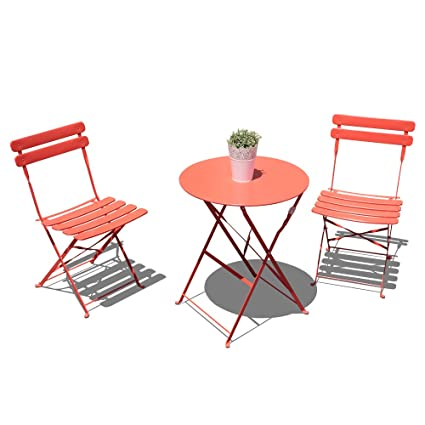 Amazoncom Orange Casual Outdoor 3 Pieces Patio Bistro Set Folding