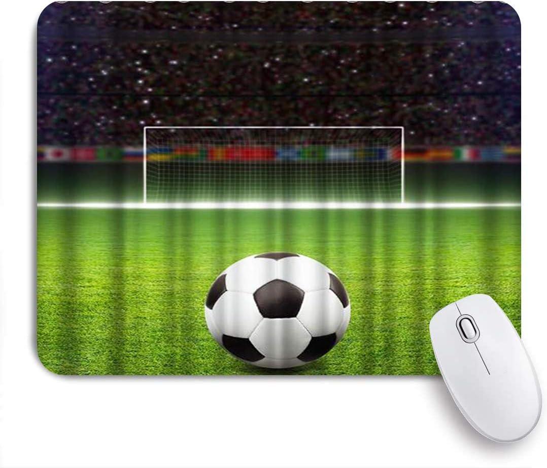 MUYIXUAN Alfombrilla Raton Balón de fútbol en Campo de fútbol Enorme Verde con Puerta de fútbol Alfombrilla Gaming Alfombrilla para computadora con Base de Goma Antideslizante,240×200×3mm