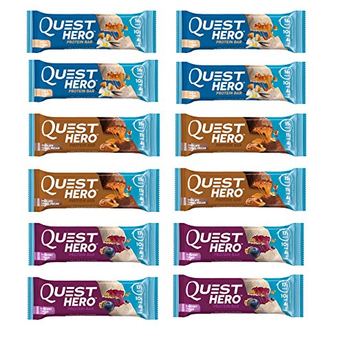 Quest Nutrition Hero Protein Bar Variety Pack. Low Carb Meal Replacement Bar w/ 20g+ Protein. High Fiber, Soy-Free, Gluten-Free (12 Count)