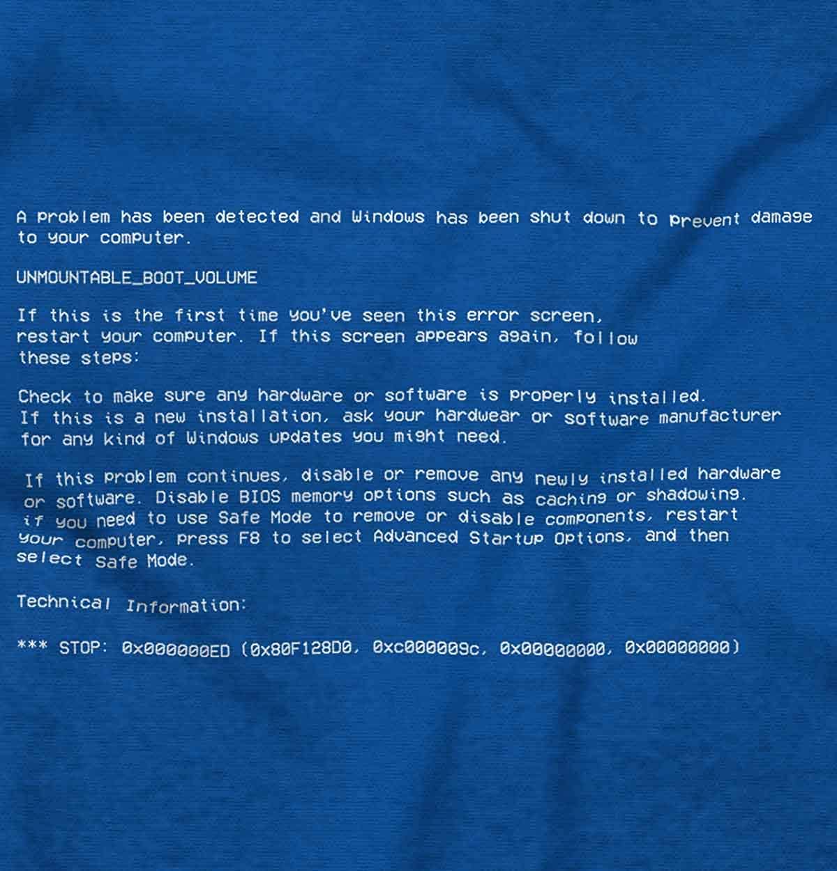 Blue Screen of Death Virus Geeky Computers T Shirt Tee | Amazon com
