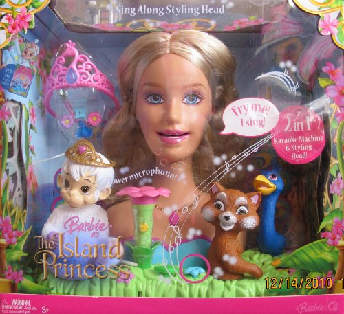 BARBIE ISLAND PRINCESS 2 in 1 STYLING HEAD & KARAOKE MACHINE w Flower MICROPHONE & More - Barbie Head Styling Princess