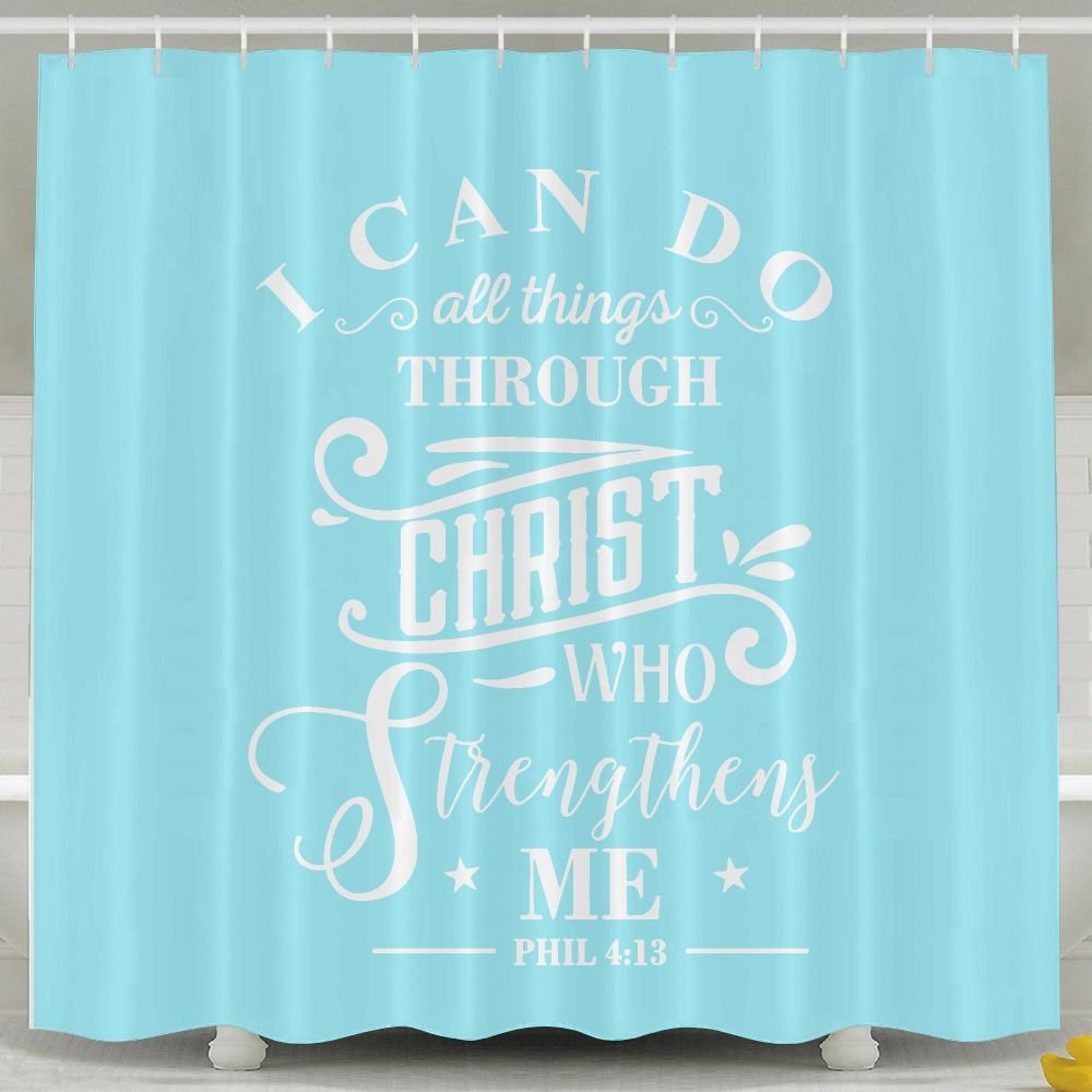 BESTSC Bath Curtain I Can Do All Things Through Christ Who Strengthens Me. SKY BLUE Shower Curtains - Waterproof Polyester Fabric Bathroom Decor Set With Hooks - 60'' X 72''
