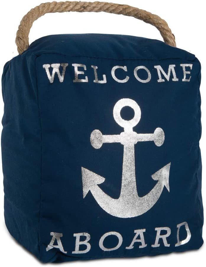 Pavilion Gift Company Open Door Decor - Welcome Aboard Anchor Beach Navy & Silver Door Stopper with Handle
