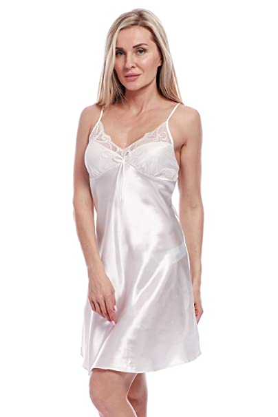 62dd7fde4 BellisMira Women's Satin Lace Full Slip Chemise Silk Nightgown Sleepwear