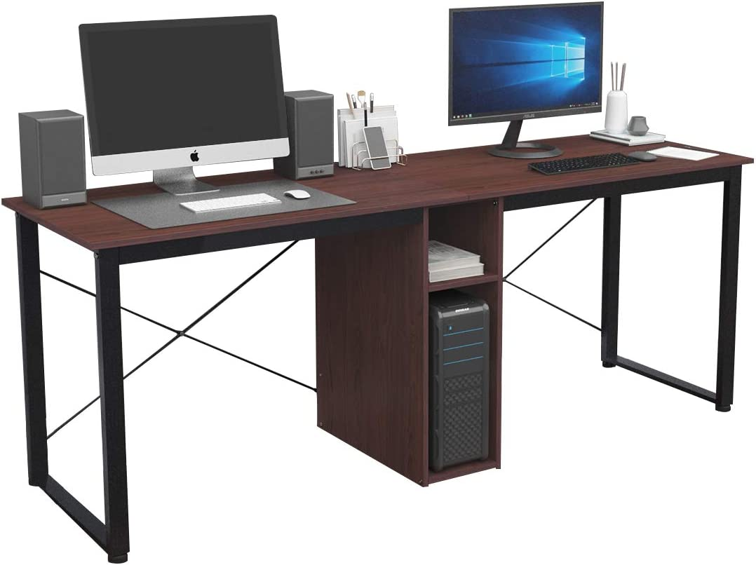 sogesfurniture 78 inches Large Double Workstation Dual Desk Home Office Desk 2-Person Computer Desk Computer desks with Storage, Walnuet BHUS-LD-H01-WA
