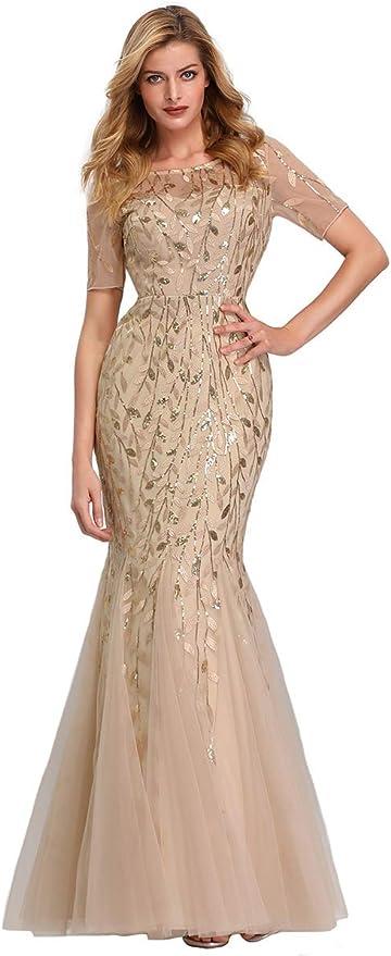 Ever-Pretty Damen Abendkleid A-Linie Spitze Kurze /Ärmel Partykleid lang 00904