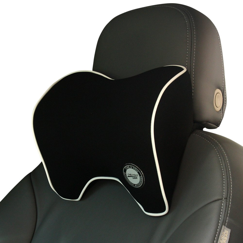 ComfyWay Car Neck Support Pillow for Driving, Headrest Cushion for Car Seat with Soft Memory Foam - Black