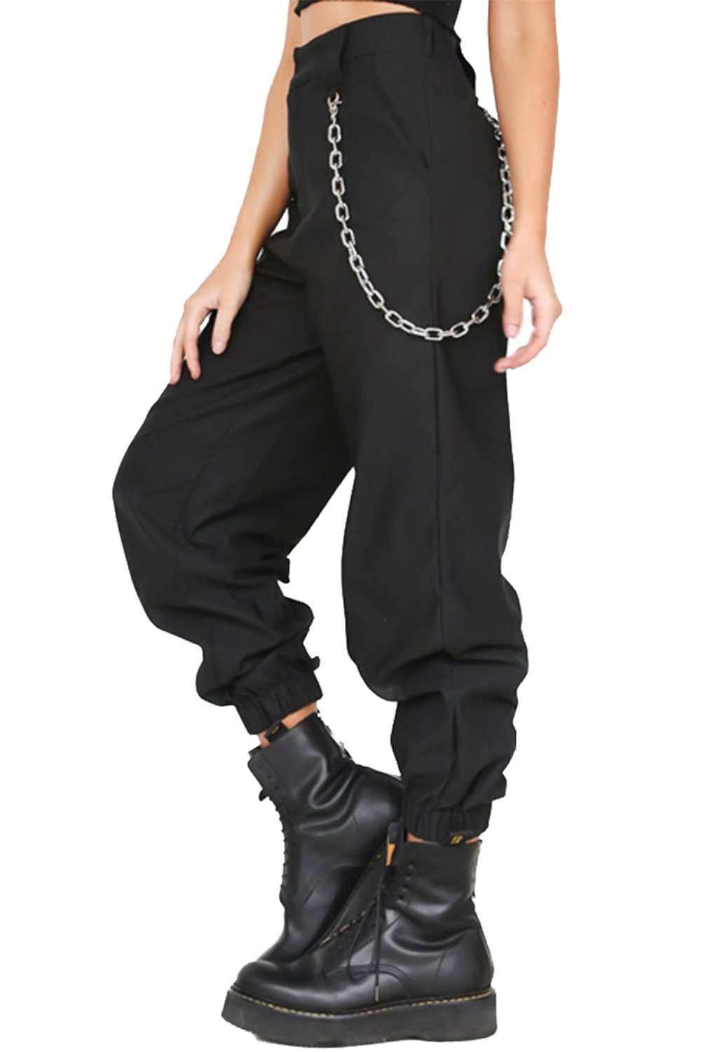 MNLYBABY High Waist Solid Harem Trousers Streetwear Punk Cargo Pants Capris for Women Size M (Black)