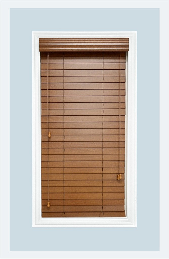 Delta Blinds Supply Custom-Made, Premium Real Wood Horizontal Window Blinds, 2 Inch Slats, Bourbon (Medium Brown,) Inside Mount