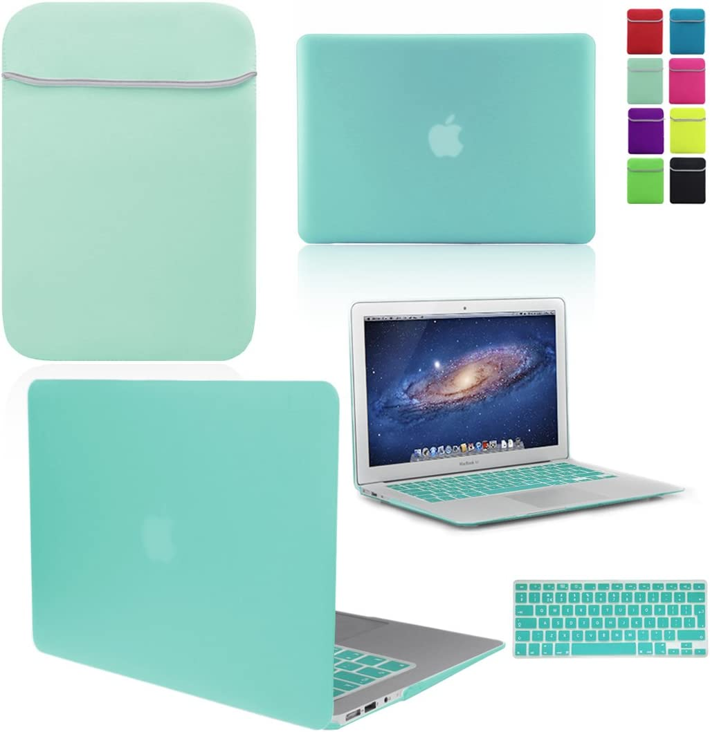 Love My Case / Bundle Egg Blue/Ocean Green Hard Shell Case with Matching Keyboard Skin and Neoprene Sleeve Cover for 13-Inch Apple MacBook Air [Will Not fit MacBook Pro Models], [Importado de UK]