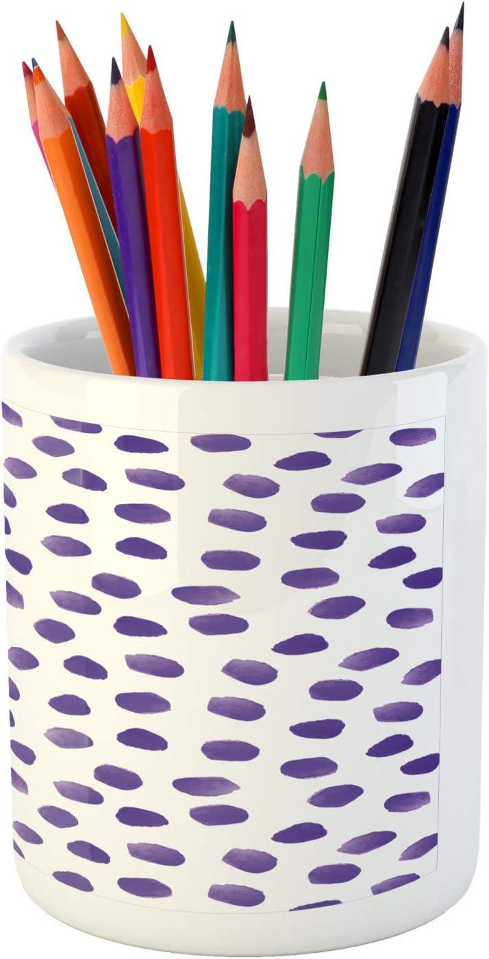 Lunarable Dot Pencil Pen Holder 3.6 X 3.2 Continuous Ink Rounds Watercolor Spots in Monochrome Style Graphic Ceramic Pencil Holder for Desk Office Accessory Lavender Blue Violet