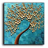 abstract tree painting - baccow -100% Hand-painted 3D Texture Floral Contemporary Art Oil Painting On Canvas Modern Abstract Tree Paintings Framed Wall Paintings for Living Room Bedroom Kitchen Dining Room Ready to Hang