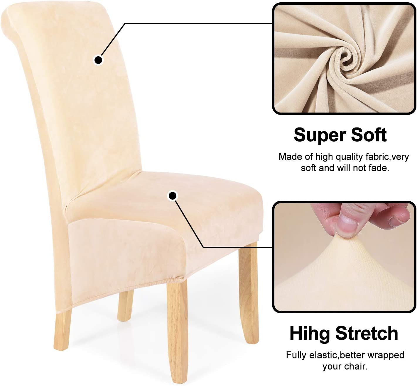 Removable Washable Large Soft Dining Chair Slipcovers for Kitchen Home Restaurant Set of 4, Black smiry Stretch Velvet Dining Chair Covers