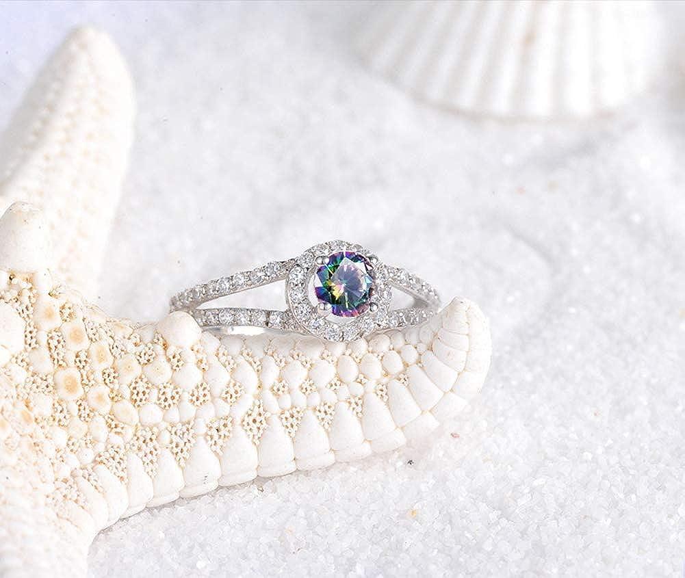 AllRing Bagues Femme Bandes Simples Exquis color/é Cristal Bague Bague en Argent /él/égant Mariage Cadeau Bijoux pour Femme Filles Femmes