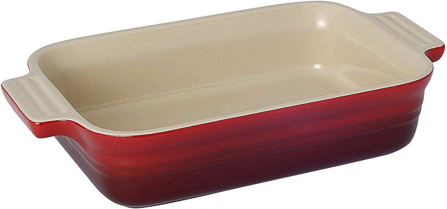 Bandeja Rectangular, para 2 porciones, Cerámica de gres, Rojo (Cereza)