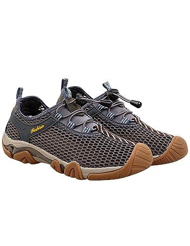 Menschwear Herren Outdoor Wanderne Mesh Schuhe Walking Sneaker(5.5,Licht-Braun)